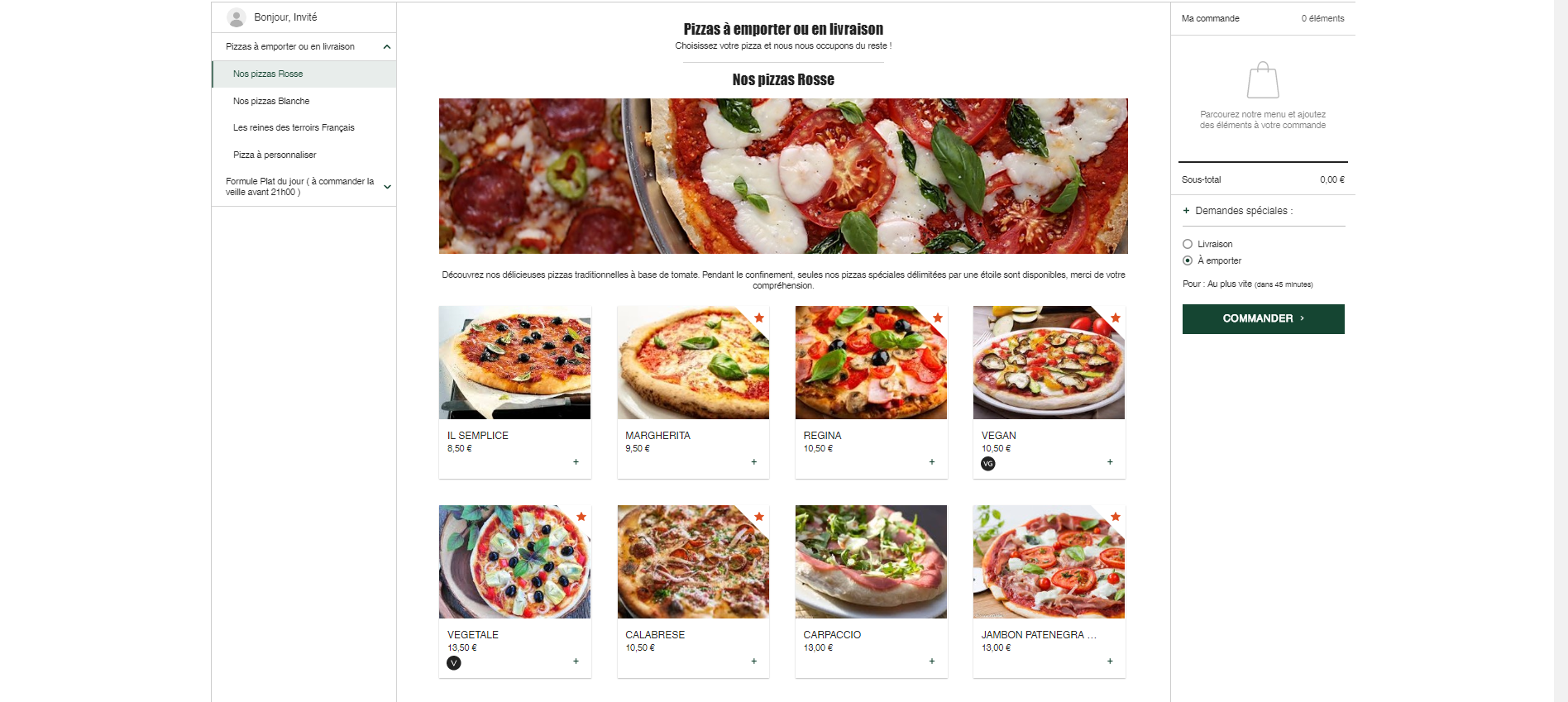 Site pizzas à emporter - Pizza passion
