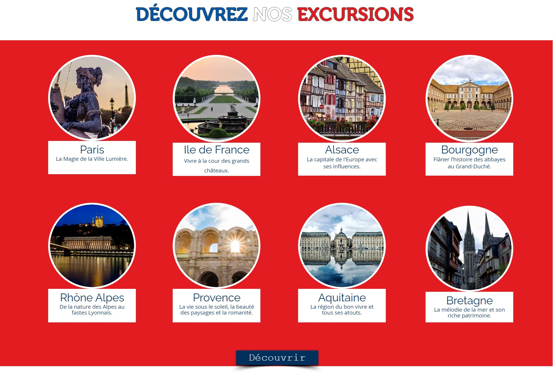Site réservations d'excursions