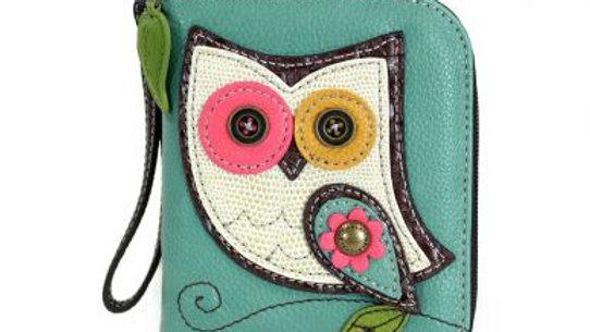 Owl II- Teal - Zip Around Wallet