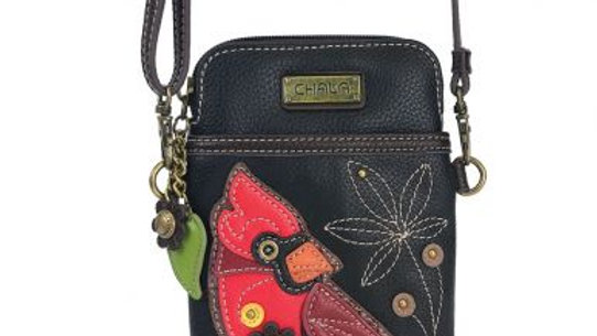 Cardinal on Black Cellphone Purse
