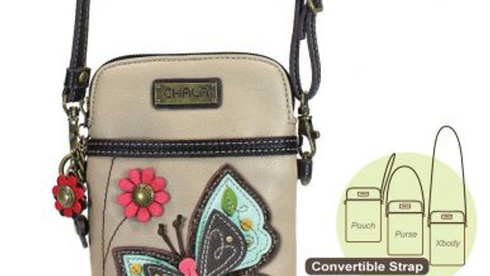 Butterfly on Tan Cellphone Purse