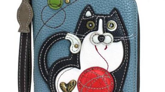 Fat Cat- Blue/Gray - Zip Around Wallet