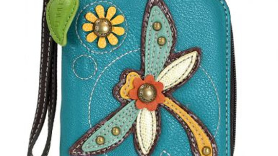 Dragonfly - Turquoise- Zip Around Wallet
