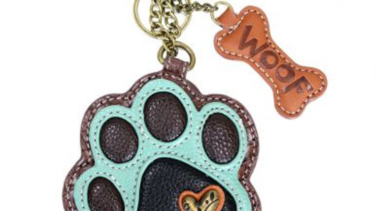 Teal Paw Print - Key Fob / Coin Purse