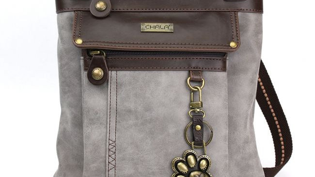 PAW PRINT - STONE GRAY - GEMINI CROSSBODY BAG