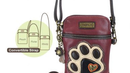 Ivory Paw Print on Maroon Cell Phone Purse
