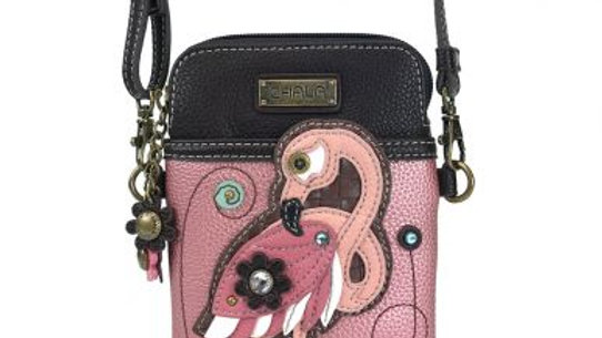 Flamingo on Pink Cell Phone Purse