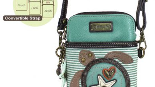 Turtle, Teal Stripe Cellphone Purse