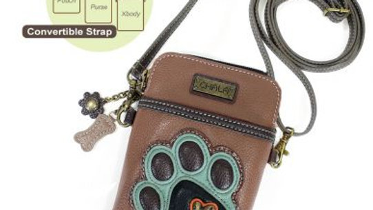Teal Paw Print on Brown Cell Phone Purse
