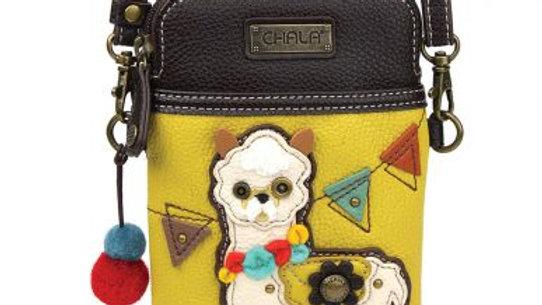 Llama on Mustard Cell Phone Purse