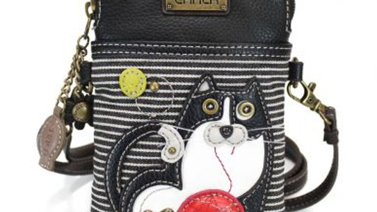 Fat Cat on Black and White Stripe Cell Phone Purse