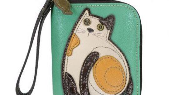 Lazzy Cat- Teal - Zip Around Wallet