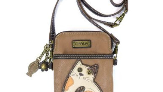 Lazy Cat on Beige Cell Phone Purse