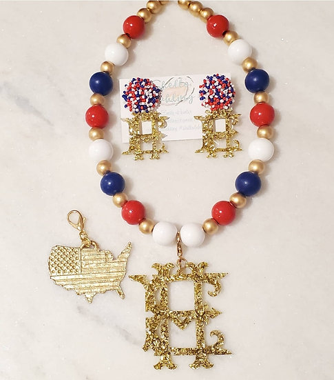 Patriotic necklace and earring set