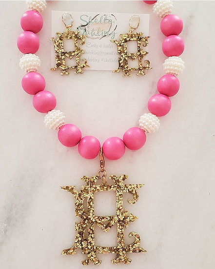 Pearl girl necklace and earring set