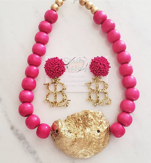 Hot pink coastal necklace and earring set