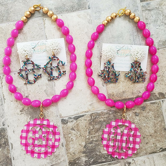 Pink gingham short necklace and earring set