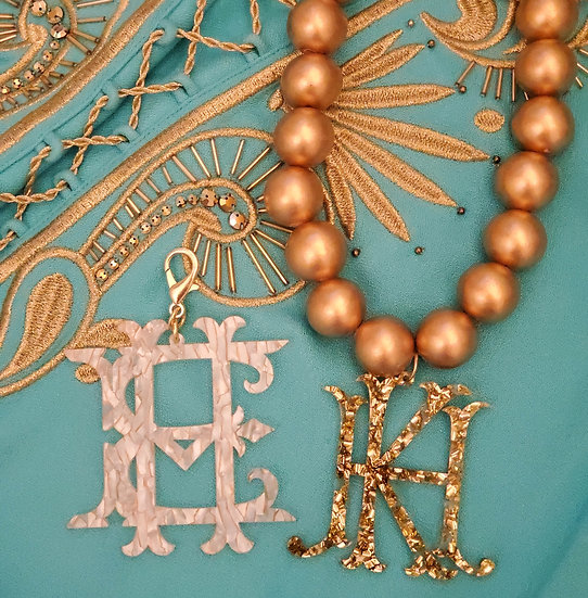 Short stacked monogram necklace