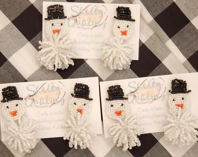 Mr. Frosty beaded earrings