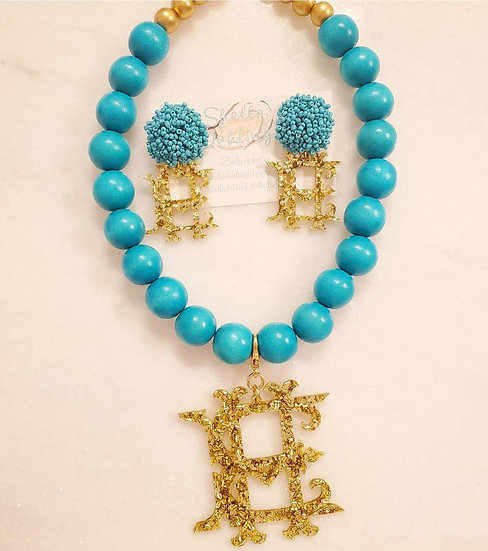 Totally Teal necklace and earring set