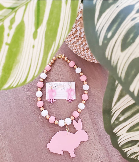 Peter cottontail necklace and earring set
