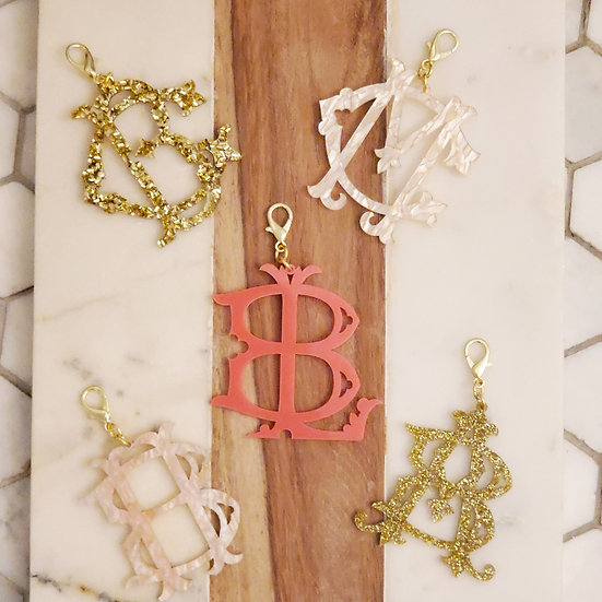 Monogram acrylic charms