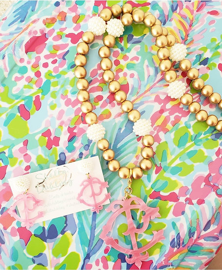 Long stacked monogram necklace