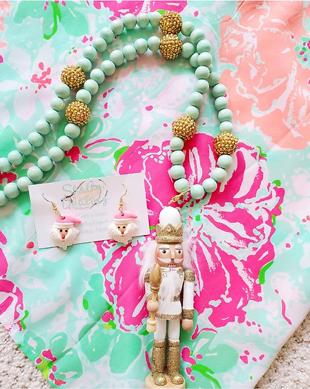 Gold and white nutcracker  long necklace