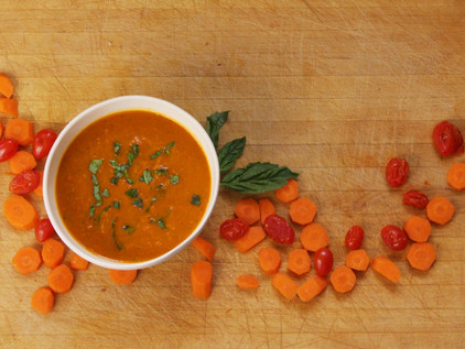 Roasted Carrot and Tomato Soup with Fresh Basil