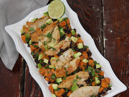 Chicken Strips with Spicy Sweet Potatoes and Black Beans