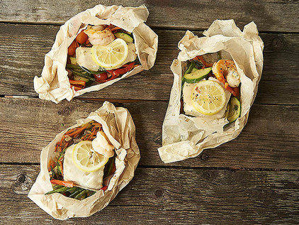 Sea Bass en Papillote with Spring Vegetables and Fresh Herbs