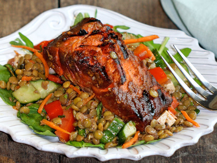 Lentil Salad with Barbequed Asian Salmon