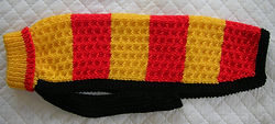 coat 834  in red gold stripes