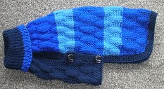 small dog coat in navy and blues
