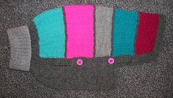 small dog coat in pinks and greys