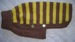 small dog coat in brown & lemon
