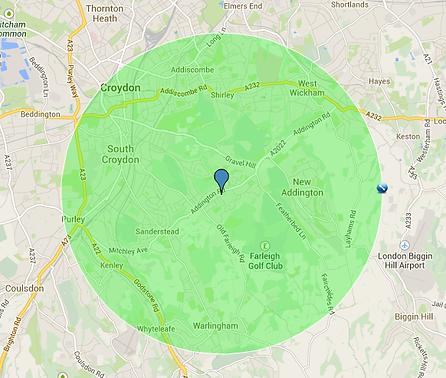 map showing radius of work area