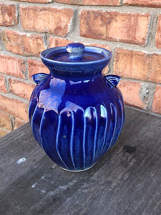 LIDDED JAR, Cobalt