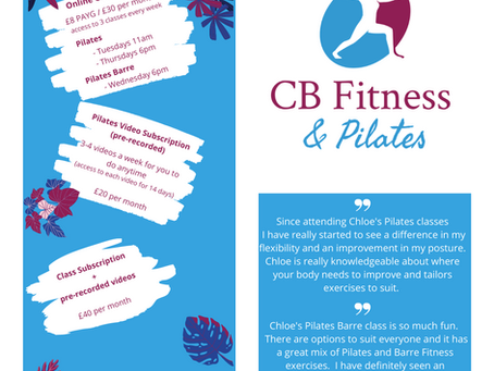 New class added - Pilates Barre!  Plus Members Only page coming soon!