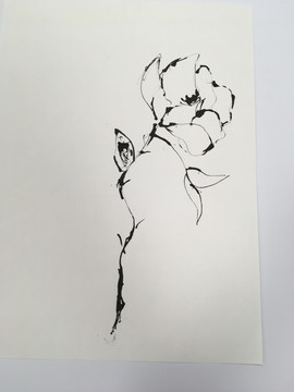 Stick and ink drawing