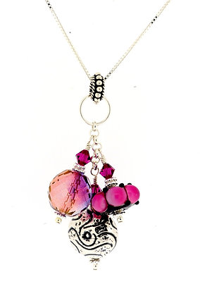 Cluster Necklace-Hot Pink