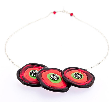 Disc Necklace-Red, Lime, Orange
