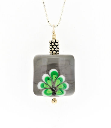 Damask Necklace-Grey/Green