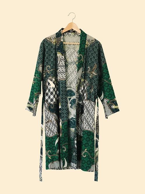 Green crane robe