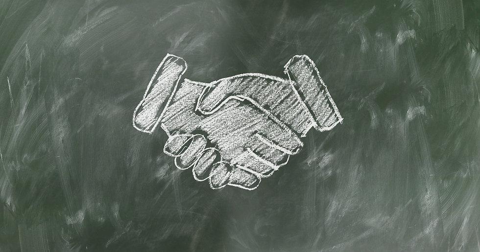 Testimonial shaking hands