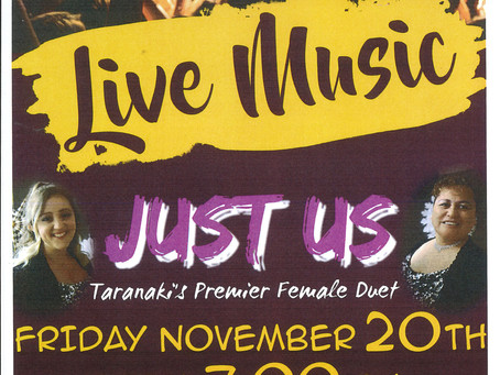 Just Us Live! Fri 20th November, from 7pm