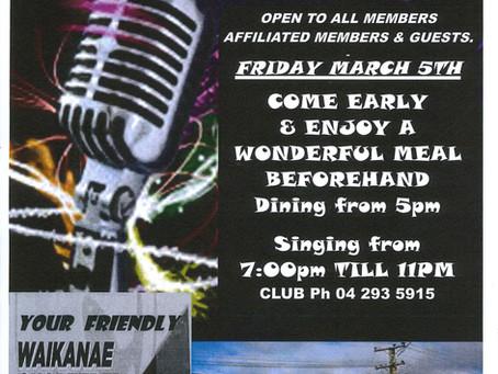 Karaoke Night! Fri 19th March, 7pm