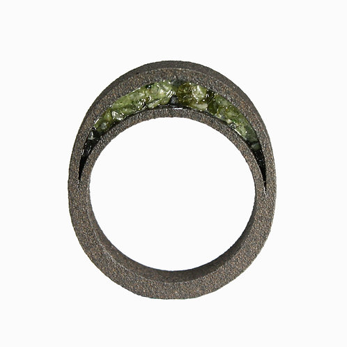 Peridot Black Steel Ring