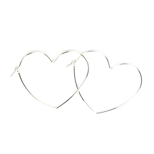 Small Silver Heart Hoops