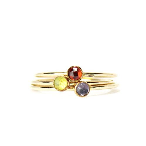 Gemstone Stacking Ring -Gold